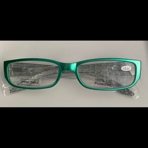 NEW Glasses 3.00 Teal Color